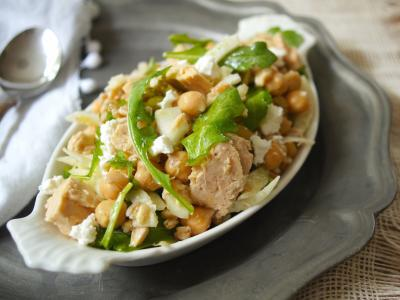 Farro, Tuna, and Chickpea Salad with Crumbled Feta