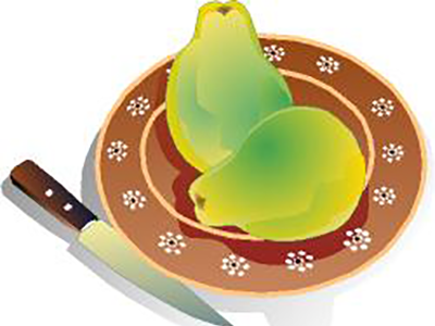 Two quinces on plate illustration