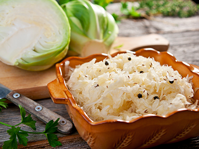 Sauerkraut and green cabbage