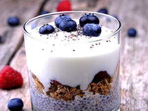 Yogurt topped with Chia Seeds