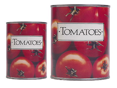 Two cans of tomatoes
