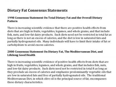 Dietary Fats Consensus