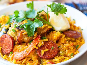 Paella with Chicken, Chorizo and Shrimp