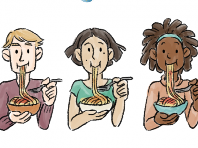people eating pasta