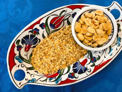 crushed peanut topping in a patterned ceramic bowl