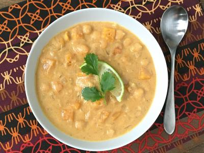 Peanut Squash Soup with Chickpeas