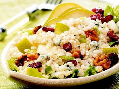 Pear Walnut Rice Salad with Blue Cheese Vinaigrette