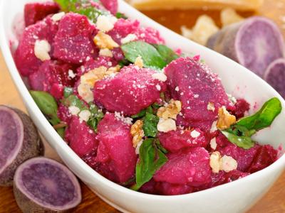 Purple Potato Salad with Beets and Arugula