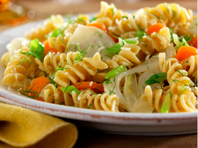 Rotini with Braised Fennel, Carrots, Spring Onions