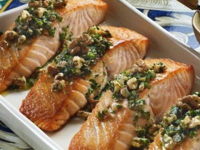 Salmon with Walnut Salsa Verde
