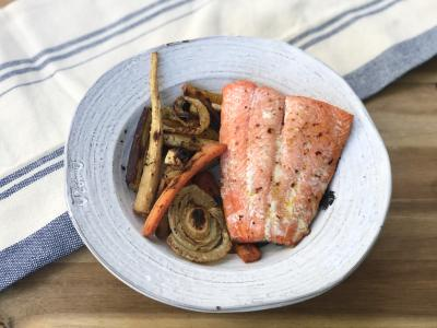 salmon over veggies