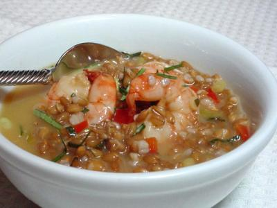 Spelt and Shrimp in Spicy Coconut Broth