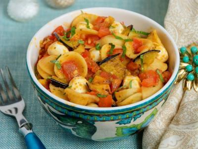 spiced eggplant and tomato orecchiette pasta