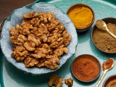 Sweet, Salty, Spiced Walnuts