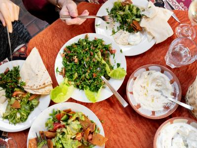 Mediterranean spread with tabbouleh and labneh