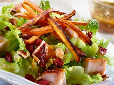 Turkey Salad with Sweet Potato Fries