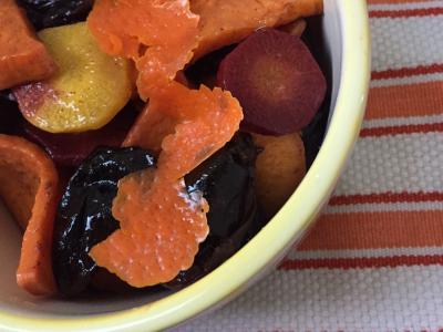 Roasted Sweet Potatoes, Carrots & Prunes