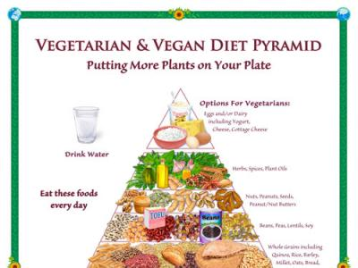 Vegetarian and Vegan Diet Pyramid Poster
