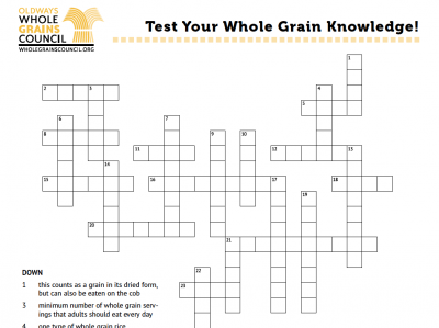 a crossword puzzle featuring whole grain terms