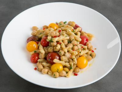 gemelli pasta with spicy chickpeas rosemary + fresh cherry tomatoes - Aranya Tomseth.jpg