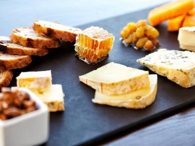 cheese board with toasted bread