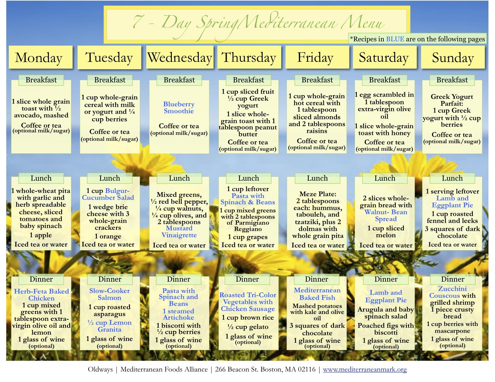 Med Diet 7 Day Menu Spring Summer Oldways