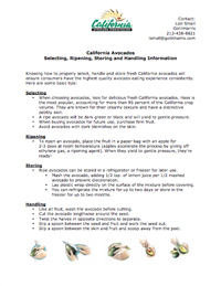 California Avocado Handling Fact Sheet