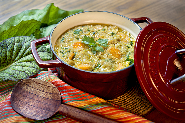 Coconut Curry Teff and Lentil Vegetable Stew