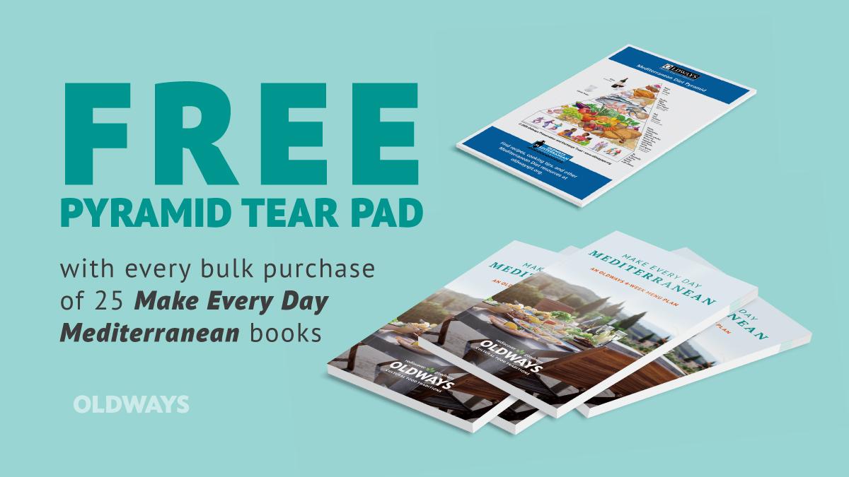 Mediterranean diet pyramid tear pad with make every day mediterranean menu plan books