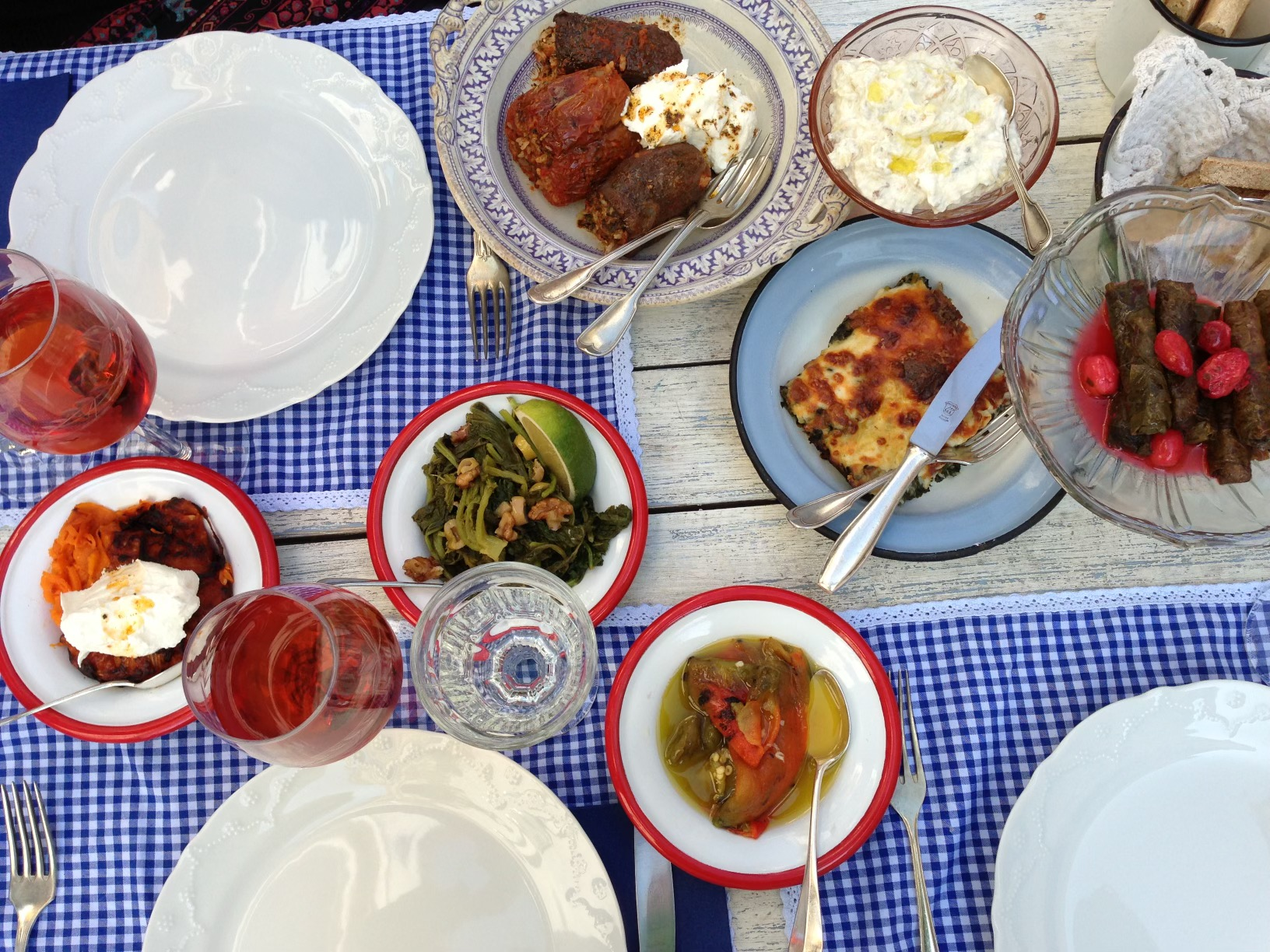 A table filled with Turkish Meze, small plates