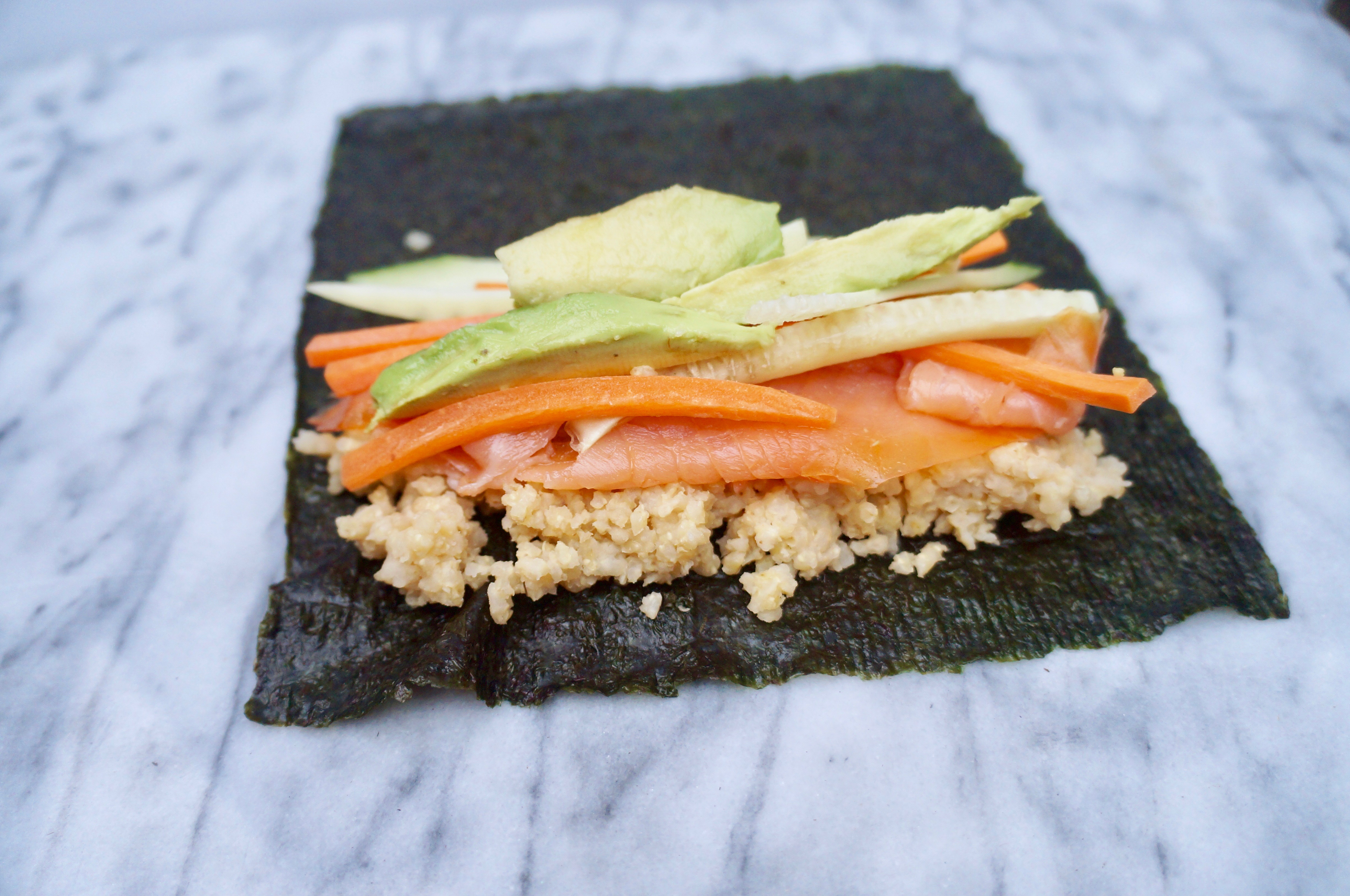 Millet Nori Wrap with Smoked Salmon