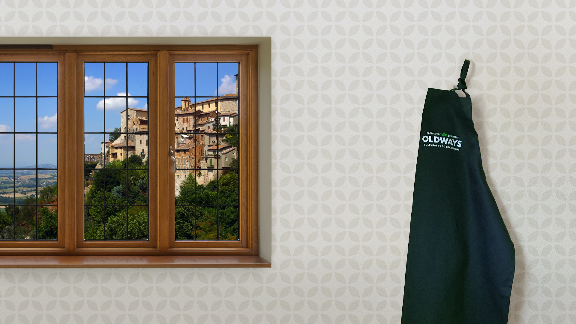 zoom background with window view of Umbria, Italy