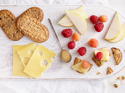 belVita breakfast biscuit with cheese and fruit