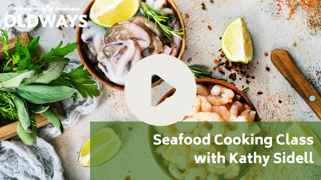 Seafood cooking class with Kathy sidell with seafood background