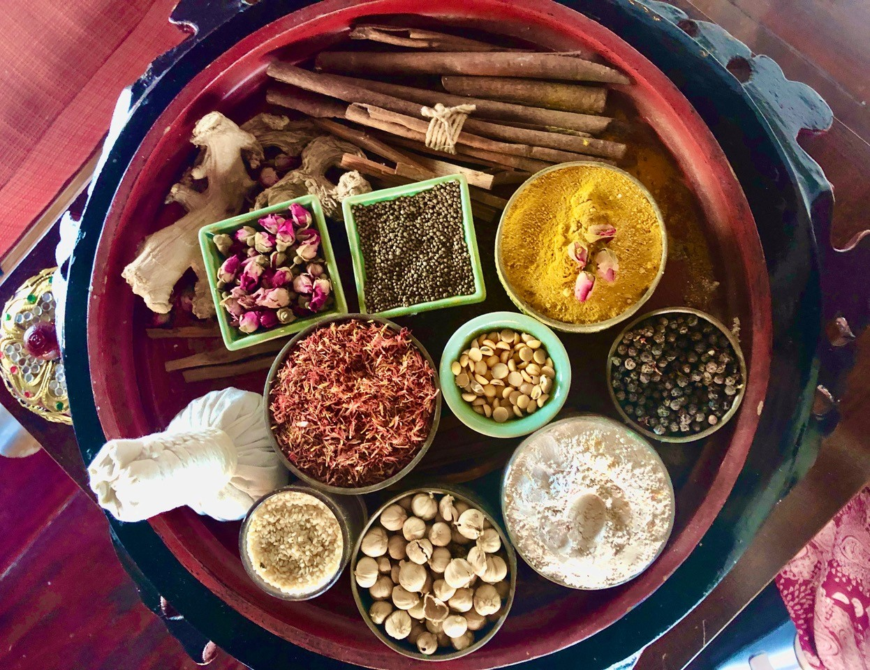 spices on tray in Thailand