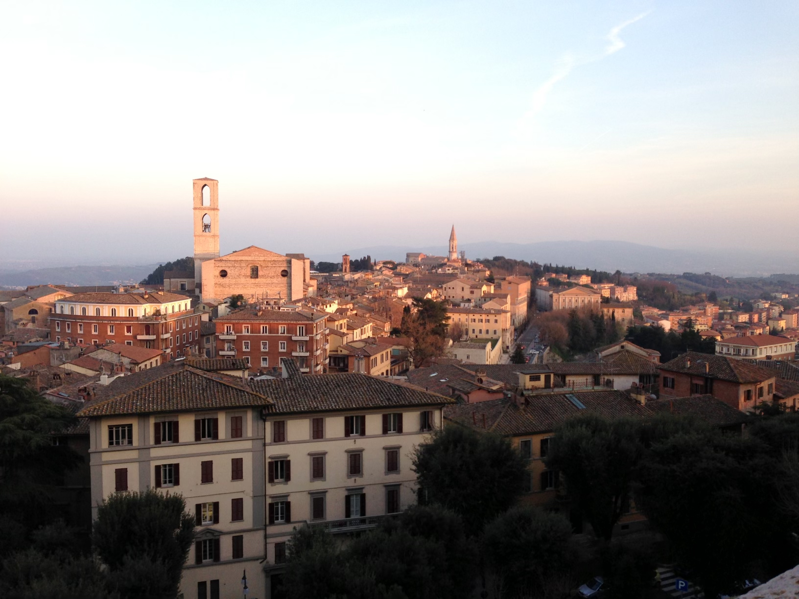 Sunset view of a town in Umbria, Italy