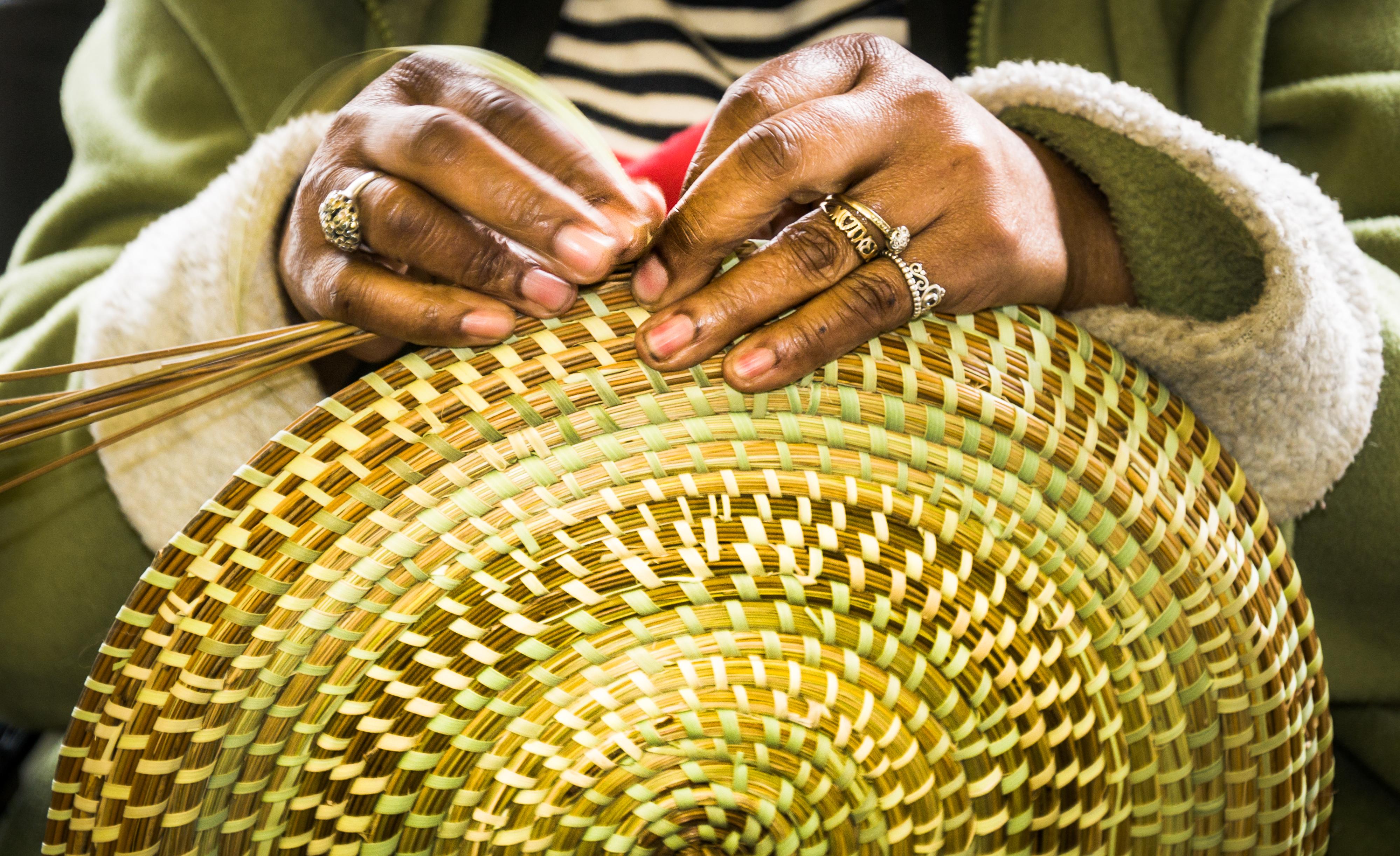 Sweetgrass basket woven in Charleston, South Carolina