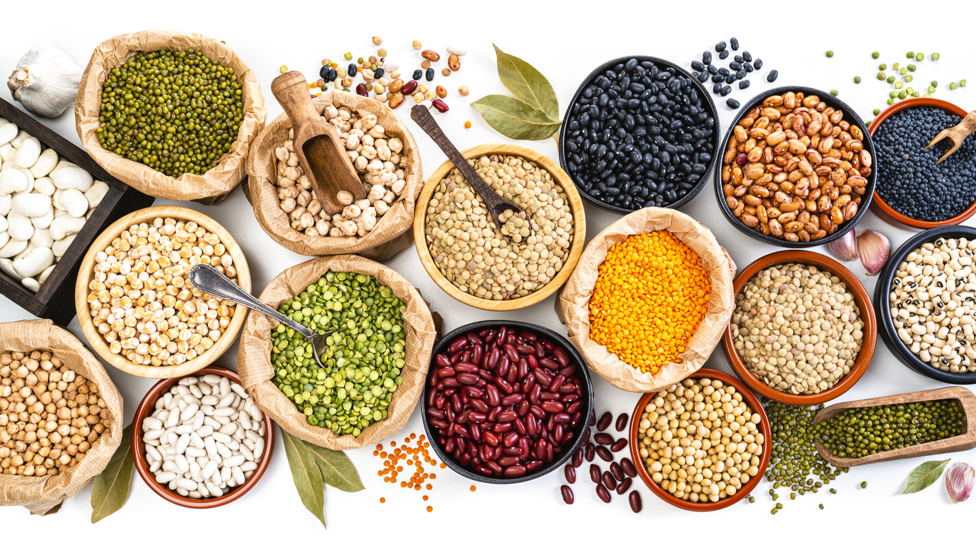 multiple legumes beans and pulses